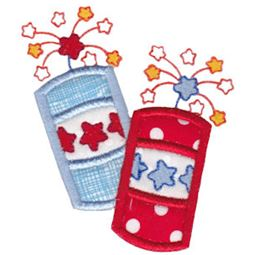 Pair of Patriotic Firecrackers Applique