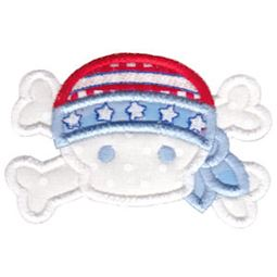 Patriotic Skull and Crossbones Applique