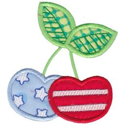 Patriotic Cherries Applique