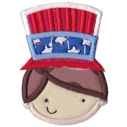 Boy Wearing Patriotic Hat Applique