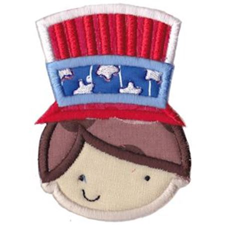 Boy Wearing Patriotic Hat Applique