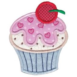 Cupcake With Cherry On Top Applique