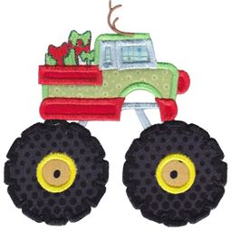 Christmas Monster Truck Applique