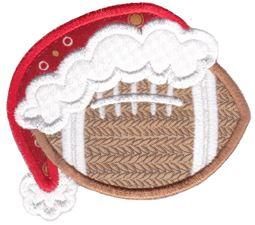 Football With Santa Hat Applique