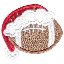 Football With Santa Hat Applique
