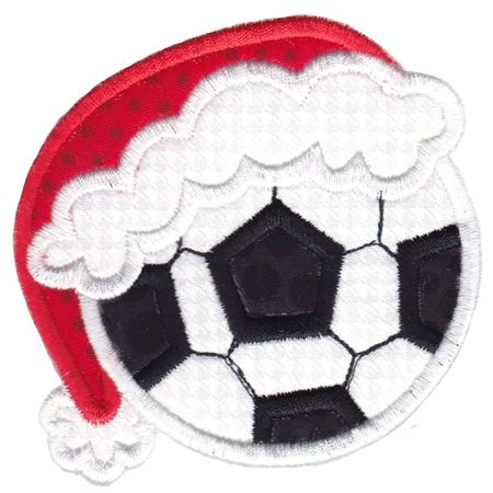 Soccer Ball With Santa Hat Applique