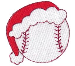 Baseball With Santa Hat Filled Stitch
