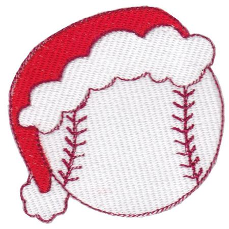Baseball With Santa Hat Filled Stitch