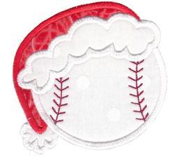 Baseball With Santa Hat Applique