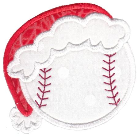 Baseball With Santa Hat Applique