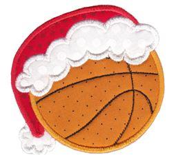Basketball With Santa Hat Applique
