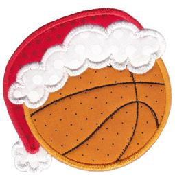 Basketball With Santa Hat Applique