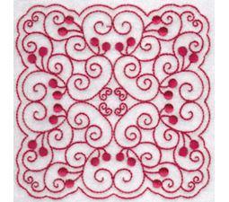 Cherries Quilt Blocks Redwork 1