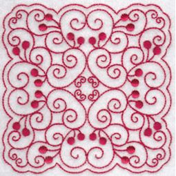 Cherries Quilt Blocks Redwork 1