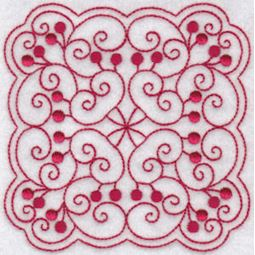 Cherries Quilt Blocks Redwork 12