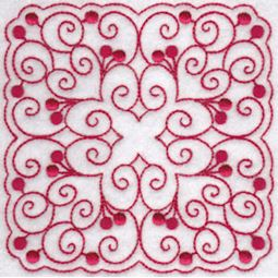 Cherries Quilt Blocks Redwork 4