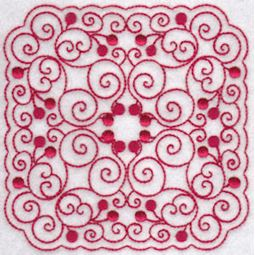 Cherries Quilt Blocks Redwork 5