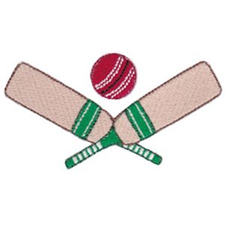 Crossed Cricket Bats and Ball
