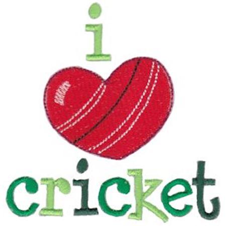 I Love Cricket Filled Stitch