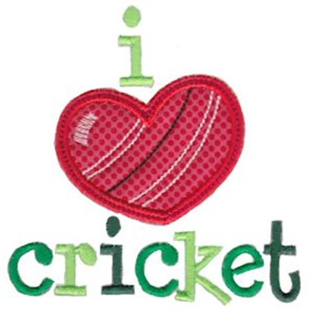 I Love Cricket Applique