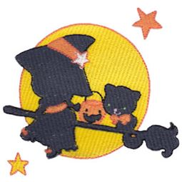 Silhouette Witch Cat Moon