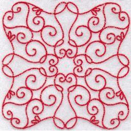 Elegant Quilt Blocks Redwork 1