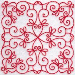 Elegant Quilt Blocks Redwork 10