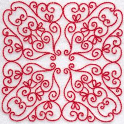 Elegant Quilt Blocks Redwork 11
