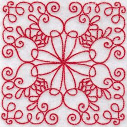 Elegant Quilt Blocks Redwork 12