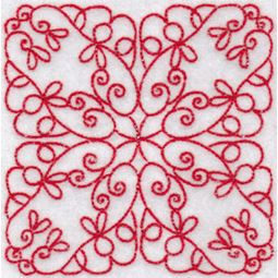 Elegant Quilt Blocks Redwork 2