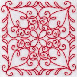 Elegant Quilt Blocks Redwork 4