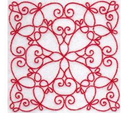 Elegant Quilt Blocks Redwork 5