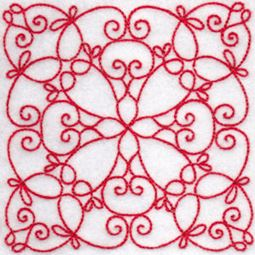 Elegant Quilt Blocks Redwork 5