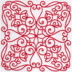 Elegant Quilt Blocks Redwork 6