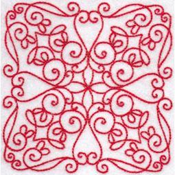 Elegant Quilt Blocks Redwork 6