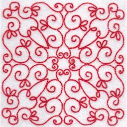 Elegant Quilt Blocks Redwork 8