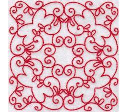 Elegant Quilt Blocks Redwork 9