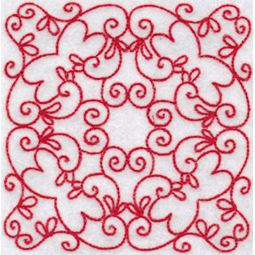 Elegant Quilt Blocks Redwork 9