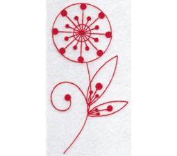 Fantasy Flowers Redwork 3