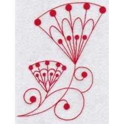 Fantasy Flowers Redwork 4