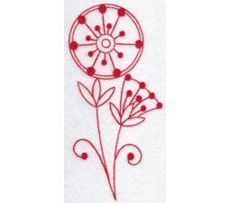 Fantasy Flowers Redwork 5