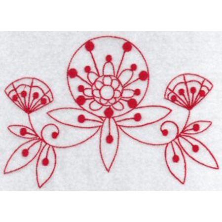 Fantasy Flowers Redwork 7
