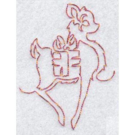 Festive Deers Redwork 10