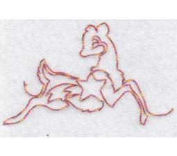 Festive Deers Redwork 4