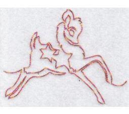 Festive Deers Redwork 6