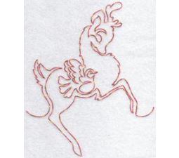 Festive Deers Redwork 9