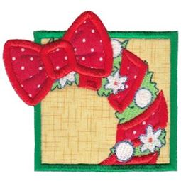 Framed Christmas Wreath Applique