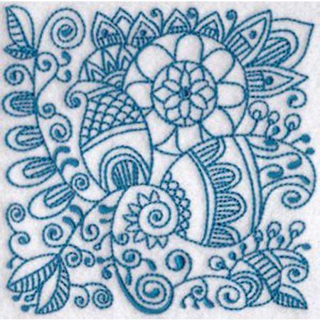 Ink Flower Redwork Blocks 11