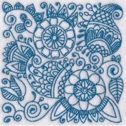 Ink Flower Redwork Blocks 4