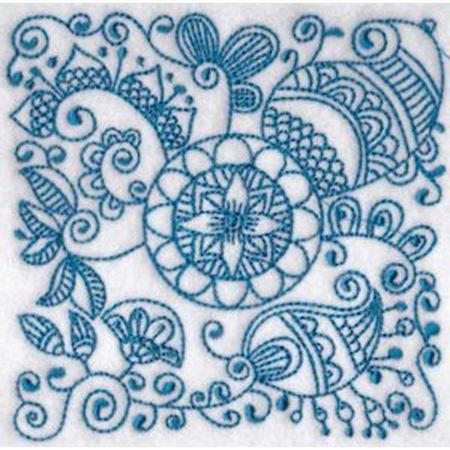 Ink Flower Redwork Blocks 5